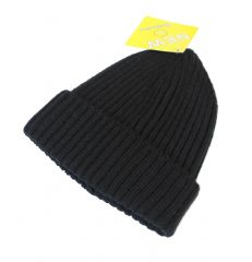 S25-HT6490 Black thermal unisex winter beanie hat